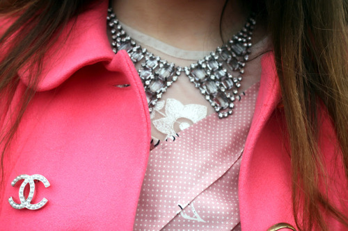 chanel 2012 paris fashion week street style jeffrey campbell coral asos coat chanel accessories tren